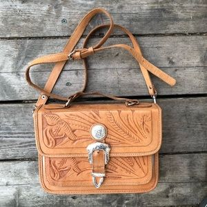 Hand-stamped vintage handmade leather purse